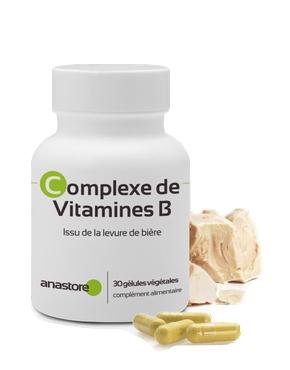 Complexe de vitamines B (dont vitamine B5) de la marque Anastore : il y a un pot blanc, des gélules devant et de la levure de bière sur le côté.